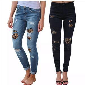 Denim - 🐾Leopard Distressed Denim Skinny Jeans